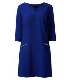 Dark Blue Notch Split Neck Zip Pocket Front Tunic Dress - I really really love this!