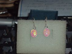 LOOK!!!! A BEAUTIFUL PAIR OF STERLING SILVER PINK FIRE OPAL EARRINGS