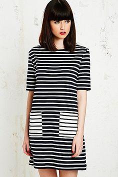 Petit Bateau Short Sleeve Breton Dress in Navy - Urban Outfitters