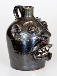 """Very Rare """"Choctaw Indian Pottery / Marion, VA"""" Stoneware Face Jug -- Lot 127 -- July 2017 Stoneware Auction Choctaw Indian, Face Jugs, Scary Faces, Evil Spirits, Face Art, Crock, Stoneware, Southern, Alcohol"""