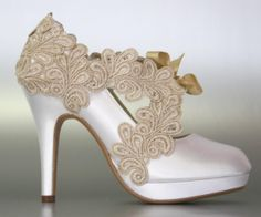 Wedding Shoes -- Light Ivory Platform Wedding Shoes with a Champagne Lace Overlay and Front Champagne Lace