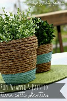 rope wrapped terra cotta pots. paint the rope.v