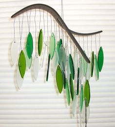 Green glass wind chime