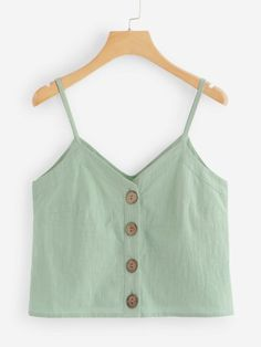 To find out about the Single Breasted Cami Top at SHEIN, part of our latest Tank Tops & Camis ready to shop online today! Outfits For Teens, Trendy Outfits, Summer Outfits, Cute Outfits, Cami Tops, Cream T Shirts, Girl Fashion, Fashion Outfits, Casual Skirt Outfits