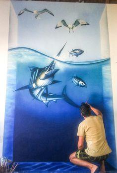 """Mural """"Supervivencia""""  Acrílico sobre pared.  Hotel Villas El Elcanto"""