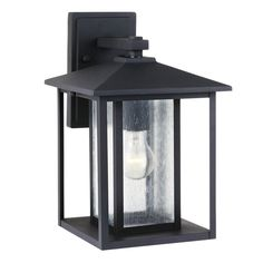 Shop Sea Gull Lighting Hunnington 14-in H Black Outdoor Wall Light at Lowes.com