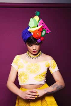 #DIY #Halloween Carmen Miranda using mr printables paper fruits for the headpiece