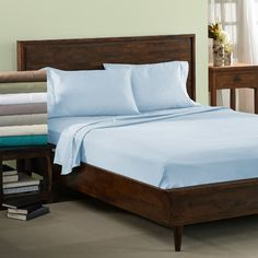 Symple Stuff Cotton Blend 600 Thread Count Solid Sheet Set Size: California King, Color: Light Blue