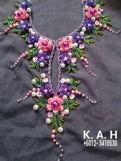New embroidery dress diy haute couture Ideas Zardozi Embroidery, Kurti Embroidery Design, Hand Embroidery Dress, Embroidery Neck Designs, Hand Embroidery Videos, Bead Embroidery Patterns, Embroidery On Clothes, Couture Embroidery, Creative Embroidery