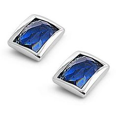 Sterling Silver Rectangular Stud Bezel Simulated Sapphire CZ 9MM Earrings