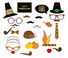 Thanksgiving Party Printable Photo Booth Props - Glasses, Hats, Ties,  Pipes, Lips, Mustaches, Turkeys, Pumpkins, Banners - INSTANT DOWNLOAD on Etsy, $7.90