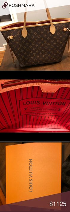 Authentic lightly used Louis Vuitton Neverfull MM Selling (😭) my lightly used Louis Vuitton Neverfull. Purchased in September 2017. In great condition. Inside bottom of bag shows a bit of wear but comes with box, bag, wristlet, and papers. Louis Vuitton Bags Totes