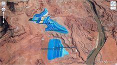 potash-pools google earth Potash Ponds 38°29'0.16″N 109°40'52.80″W Moab, Utah, USA
