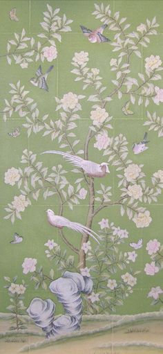 hand painted wallpaper :: chinoiserie wallpaper :: silk wallpaper :: chinese wallpaper :: hand painted silk wallpaper :: hand painted chinese wallpaper :: bespoke wallpaper and custom service Green Leaf Wallpaper, Silk Wallpaper, Hand Painted Wallpaper, Chinoiserie Wallpaper, Painting Wallpaper, Custom Wallpaper, Silk Painting, Handmade Wallpaper, Chinese Wallpaper