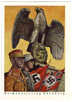 Nuernberg Rally 1939 unissued PC of SA man and Wehrmacht soldier a