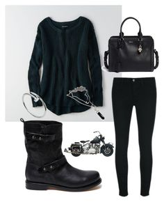 """""""Ready to Ride"""" by jamanator on Polyvore featuring American Eagle Outfitters, rag & bone, J Brand, Alexander McQueen, Cartier, Fall, McQueen, bikerboots, AEsweater and motorcyclewear"""