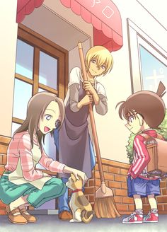 Conan, Azusa, Amuro, and Taii in front of Poirot