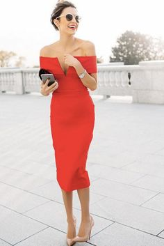 What to Wear to a Wedding: Off-the-Shoulder Fitted Red Dress, Neutral Pumps, Top Knot