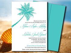 Beach Wedding Invite Microsoft Word Template | Lazy Palm Tiffany Teal | Destination Wedding Invitation Template | Tropical Wedding