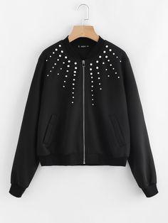 Shop Pearl Beading Bomber Jacket online. SheIn offers Pearl Beading Bomber Jacket & more to fit your fashionable needs.