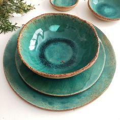 Blue Stoneware Dinnerware Set, Set of 2 Stoneware Plates, Large Ceramic Dinner Plate and Salad Plate, Handmade Pottery Plates - Ceramic Dinnerware Set Handmade Ceramic Set of for Stoneware Dinnerware Sets, Ceramic Tableware, Stoneware Clay, Farmhouse Dinnerware, Blue Dinnerware, Ceramic Bowls, Earthenware, Pottery Plates, Ceramic Pottery