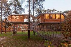 gebouw lijkt super licht en gaat op in de omgeving; The Treehouse. Fotograaf Markus Bollen