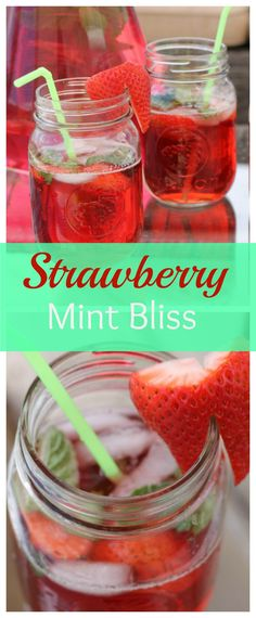 A super easy Summer Drink that can be made alcoholic or non-alcoholic to suit your tastes! Full of fresh strawberries and mint, it will leave your thirst quenched on a hot summer day!