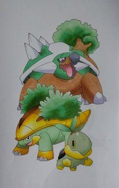 Turtwig Evolution - Pokemon by Pandaroszeogon on DeviantArt