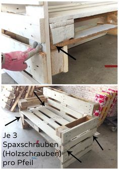 Möbel aus Paletten bauen - Anleitung Building furniture from pallets - nothing easier than there. Diy Garden Furniture, Building Furniture, Diy Outdoor Furniture, Diy Pallet Furniture, Furniture Making, Pallet Bench, Furniture Refinishing, Metal Furniture, Paint Furniture