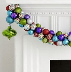 Make this striking Christmas garland with some ornaments and little bit of wire… Christmas Mantels, Christmas Wreaths, Christmas Decorations, Elegant Christmas, Christmas Holidays, Merry Christmas, Xmas, Christmas Projects, Holiday Crafts