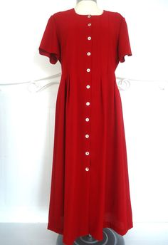 WOMENS DEBENHAMS RED TEA DRESS BUTTON FRONT SIZE 14 POLYESTER