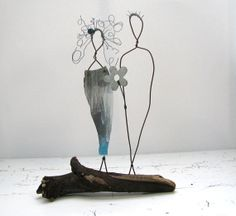 Metal Sculpture Driftwood Wire Art  Couple Summer by idestudiet ©2012-2013 All Rights Reserved