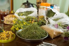 herbs at table in home