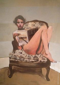 Artist: Michael Carson {contemporary figurative #impressionist beautiful female chair seated woman magazine painting drips #loveart}