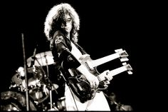 Hammer of the Gods --  Jimmy Page– master of the iconic Gibson EDS-1275 Double Neck Guitar — Image by Neil Zlozower
