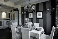 Interior Design : Black And White Dining Room Home Design Furniture And Interior Black Dining Room, House Furniture Design, White Dining Room, Classic Dining Room, Home Decor, House Interior, White Dining Room Table, Home Interior Design, Grey Dining Room