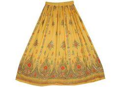"Bohemian Skirt, Retro Hippie Skirt, Beaded Yellow Peasant Skirt 36"" Mogul Interior, http://www.amazon.com/dp/B009PWQCT2/ref=cm_sw_r_pi_dp_FmrEqb1CFW1B2$24.99"