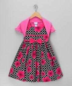 Another great find on #zulily! Pink & Black Rose Dress & Shrug - Toddler & Girls by Jayne Copeland #zulilyfinds