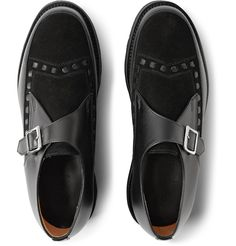 Grenson - Leather and Suede Monk-Strap Shoes|MR PORTER