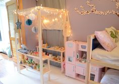 Love how they made their own little kitchen...so simplistic and lovely with the lights!