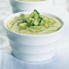 Zucchini and Avocado Soup with Cucumber Salsa Recipe | MyRecipes.com Mobile