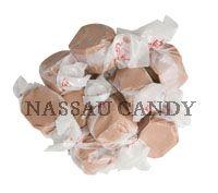 Nassau Candy.  Chocolate saltwater taffy. 20# increments.