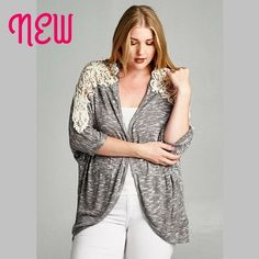 Lace cardigan Loving this! Light cardigan with lace on the shoulders. Great as a layering piece. If you have a cute summer top that you just want a bit more coverage for, this is the thing! Made in USA, 60% rayon, 35% polyester, 5% spandex. Emerald Sweaters Cardigans
