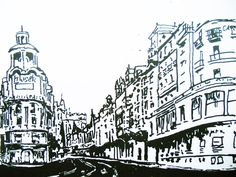 Gran vía hand drawing Madrid.