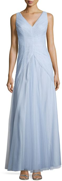 Monique Lhuillier Bridesmaids Sleeveless V-Neck Ruched-Bodice Tulle Gown, Dust Blue