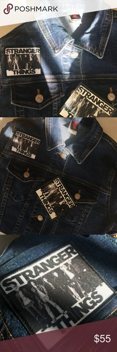 Stranger Things Denim Jacket with Sticker This is a stranger things Denim Jacket similar to those worn in stranger things and the cast featured on the left hand side. Would fit a variety of sizes based on desired fit. One size. Includes a stranger things sticker to put on your laptop, water bottle - the possibilities are endless!! In excellent condition! This denim jacket won't last long! Stranger Things Jackets & Coats Jean Jackets