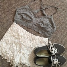 Grey Lace Bralettes Super adorable lacy bralette! New with tags! I'm in love with it but I bought the wrong size! aerie Intimates & Sleepwear Bras