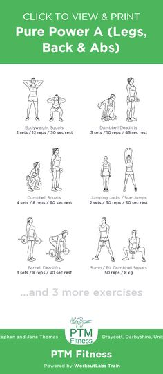 Pure Power A (Legs, Back & Abs) – free illustrated workout by Stephen and Jane Thomas at PTM Fitness. View and download as a printable PDF via WorkoutLabs Train. #WorkoutlabsTrain #customworkout