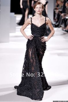 Elie Saab Black Tulle V Neck Spaghetti Straps Full Crystal Beaded Fashion Elegant Long Evening Dress