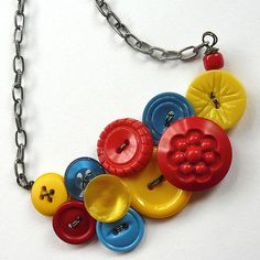 Primary Colors Vintage Button Statement by buttonsoupjewelry, $30.00